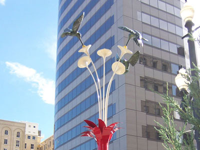 3 Hummingbirds in Blub Public Art Installation