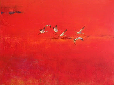 Greg Ragland Painting 6 Cranes in Red
